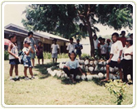 ハーブを育てる場所。子どもたちは、   学校で習ったことを家でも実行する   ことになっている。